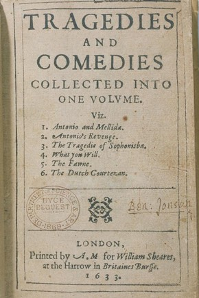 John Marston, 'Tragedies and Comedies', 1633. Pressmark: Dyce 25.B.50
