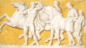 Wallpaper frieze (detail) reproducing part of the Parthenon frieze, known as the Elgin Marbles, probably Jeffrey, Allen & Co, 1851. Museum no. E.33b-1971