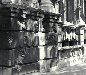 Bomb damage to the Exhibition Road façade of the V