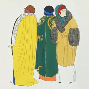 Plate 9 from 'Les Robes de Paul Poiret, racontées par Paul Iribe' pochoir colour print, by Paul Iribe, published by Paul Poiret, 1908. Pressmark 211073 NAL