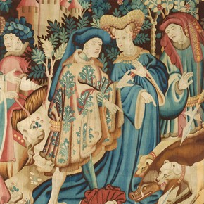 Detail from a tapestry with scenes of a boar and bear hunt, probably made in Arras or Tournai, Netherlands, 1425-30. Museum no. T.204-1957