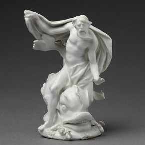 Figure of Neptune, made at the Bow porcelain factory, about 1750. Museum no. C.203-1928