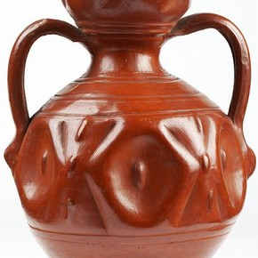 Unpainted earthenware dimpled ceramic Bucaro vase, Tonalá, Mexico, between 1600-1700. Museum no. 289-1872