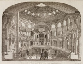 The Royal Panopticon, later known as the Alhambra Theatre in Thomas Hayter Lewis's, 'The Builder' Vol.XII, No.580, 18 March, 1854. Museum no. NAL PP.20.A, © Victoria and Albert Museum, London