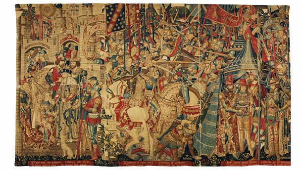 Tapestry with scenes of the war of Troy, 1475-90. Museum no.6-1887
