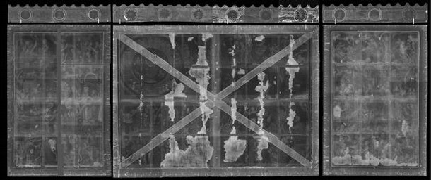Figure 2. Composite X-ray image of whole altarpiece (Radiography by V&A Photographic Studio)
