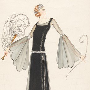 1) Norman Hartnell (1901-79), fashion design, London, 1920s. Museum no. E.29-1943
