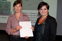 Malvinka Bitelli receiving the award for Glass from curator, Melanie Vandenbrouck-Przbylski