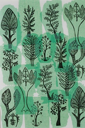 'A Medieval Forest' made by Margaret Sparks during her Printmaking class at Sutton College of Learning for Adults
