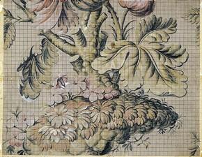 Figure 1 - Mise-en-carte (or draft), Jean Revel, France, 1733, gouache on paper. Musée des Tissus, Lyon Inv. no. 40932