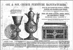 Advertisement for church furnishers Cox