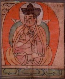 'Dusum Khenpa', ink and gouache on paper, Tibet, 14th century. Found inside the seated Buddha, Museum no. IM.121-1910. Dusum Khenpa (1110-70) founded the Karmapa order
