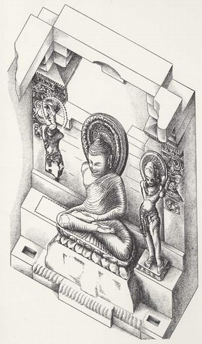 Isometric sketch of the shrine, Temple 45, Sanchi. (click image for larger version)