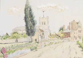 &#39;Waltham Abbey&#39; by H E Du Plessis, about 1940, Museum no. E.1385-1949