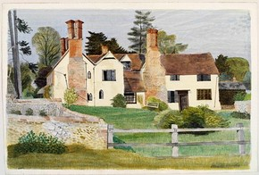 'Brent Hall from the South, Finchingfield' by Kenneth Rowntree, about 1940, Museum no. E.1408-1949