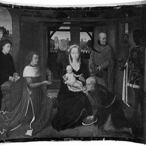 Figure 1. Adoration of the Magi (Museum No. E209-1995) by Chistian Schultz after Hans Memling before conservation. 346x426mm. Photography by Victoria Burton.