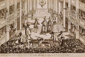 Lithograph depicting the riot during 'Aterxes', 1763