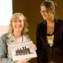 Jolanta Jagiello receiving the award for 'Sculpture' from Melissa Hamnet, Curator, Inspired By 2008