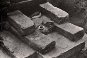 Excavation of relic casket, Kapilavastu. Photograph © John Huntington