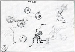 Ibrahim Emin, Highgate Wood School, London, 1994. Sketches produced in the design of a child's tricycle.