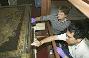 Yoshihiko Yamashita and Shayne Rivers working on the Mazarin Chest, 2005