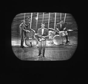 Buddy Holly and The Crickets, performing on Sunday Night at the London Palladium on their UK tour, photographic negative, Harry Hammond,1958. Museum no. S.12031-2009.  © Victoria and Albert Museum, London