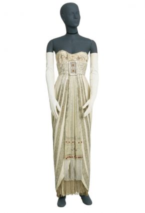 Costume for Eliza Dolittle in Alan Jay Lerner and Frederick Loewe's musical'My Fair Lady', designed by Cecil Beaton, Theatre Royal Drury Lane, London, 1958. Museum no. S.1346-1984