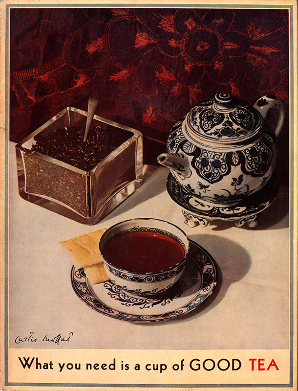Curtis Moffat, 'What You Need is a Cup of Good Tea', colour print, about 1930. Museum no. E. 3632-2007, © Victoria and Albert Museum