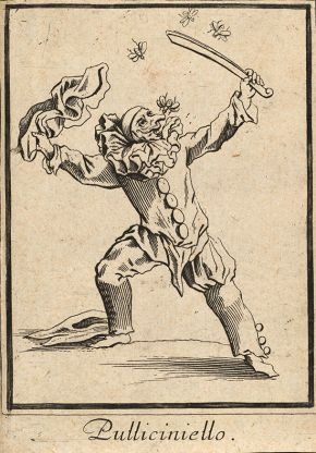 Pulliciniello, the Commedia dell'Arte servant, Engraving by Jacques Callot, about 1622. Museum no. S.5290-2009. © Victoria and Albert Museum, London.