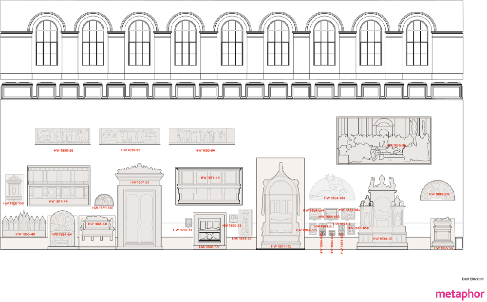 Elevation sketch of the east wall of the Cast Courts © Metaphor