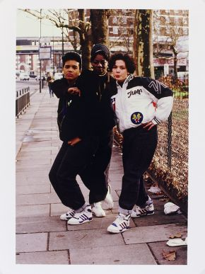 Normski, 'She Rockers (London/Rap/Dance Crew) Shepherds Bush Green, London, 1988'. Museum no. E.112-2012. © Normski/ Victoria and Albert Museum, London. Supported by the National Lottery through the Heritage Lottery Fund.