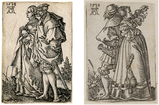 Figure 18 a-b. Two plates from the series 'Small Wedding-Dancers' (1538)