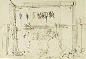 Pencil, pen and wash drawing on paper by John Lockwood Kipling depicting three weavers, probably all prisoners at Amritsar jail, (ca.1870), 0929:33 (IS) © Victoria and Albert Museum, London
