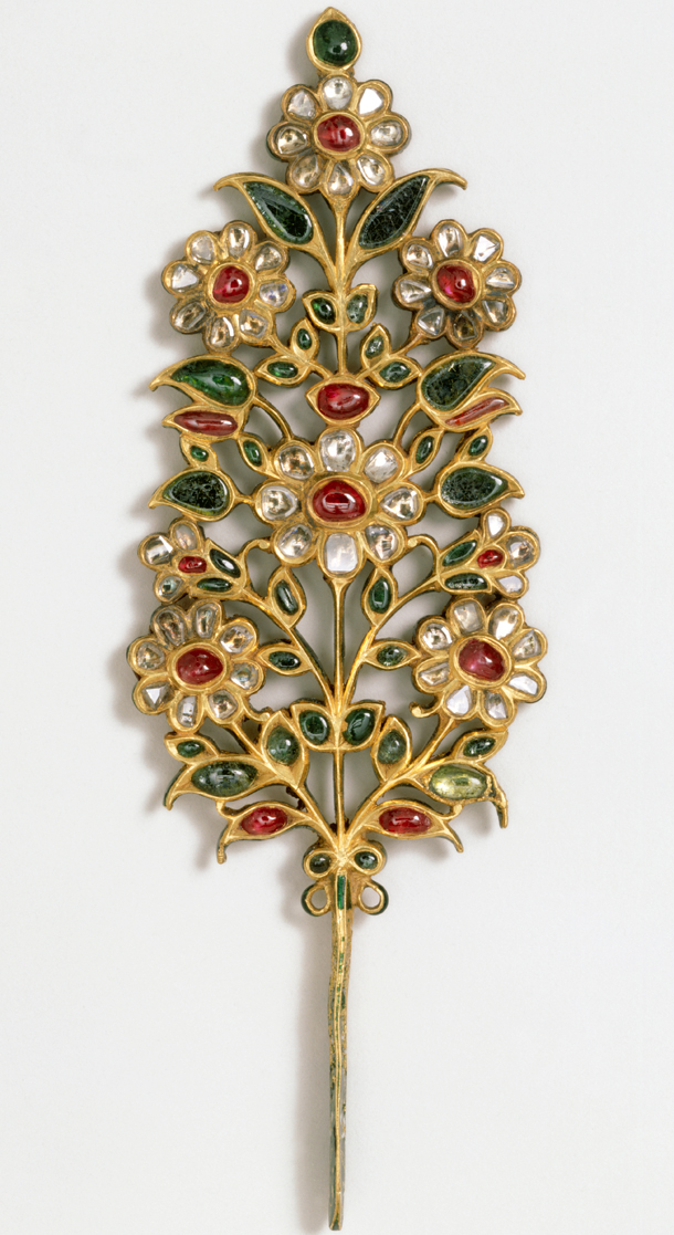 Life and art in the mughal court victoria and albert museum turban ornament india or pakistan early 18th century set with rubies emeralds pale beryls and diamonds museum no im240 1923 sciox Choice Image