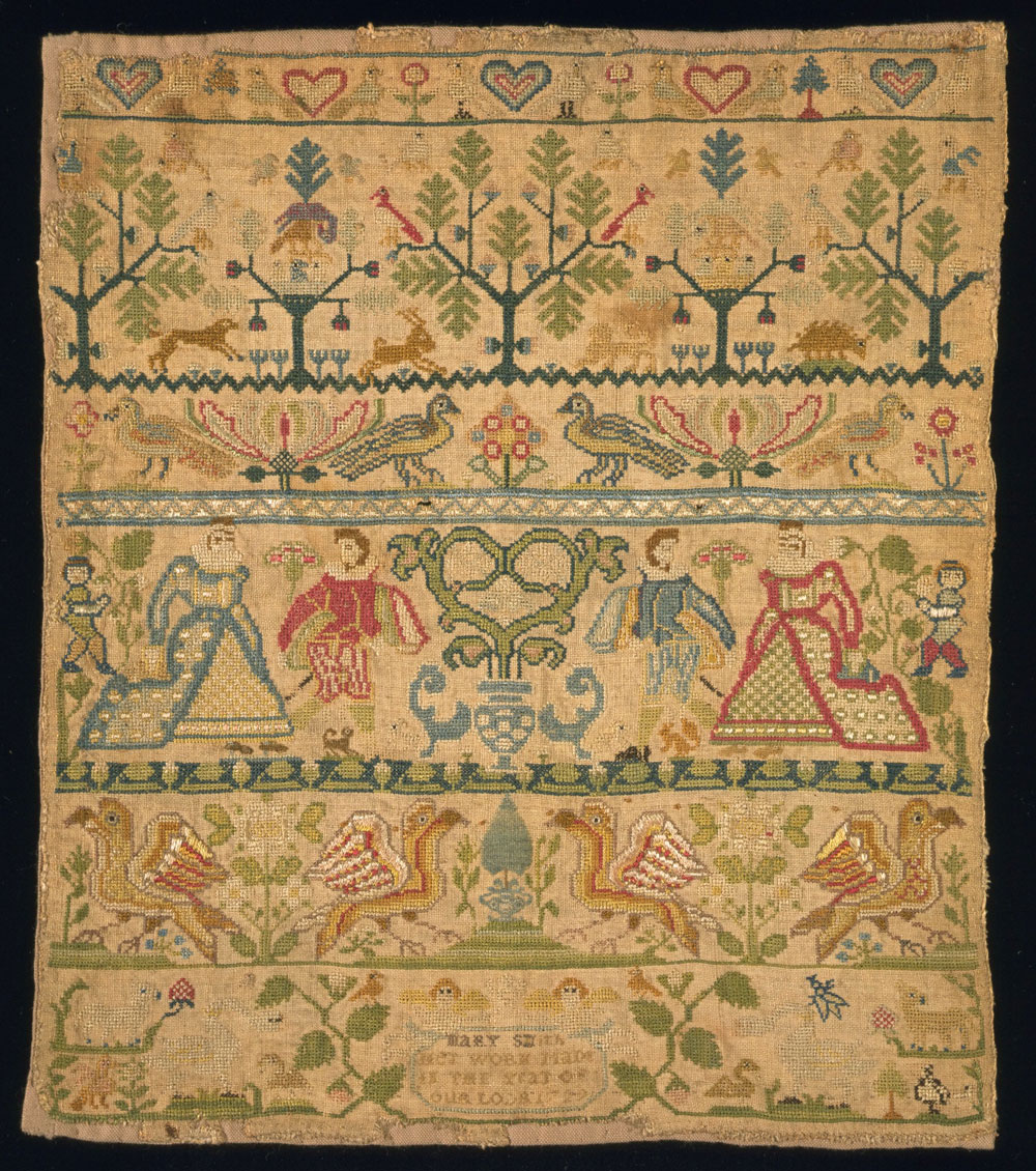 Linen sampler embroidered with silk, by Mary Smith, England, 1729. Museum no