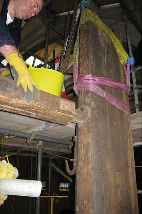 Figure 3a. Vertical timber being removed (Photography by Matthew Nation)