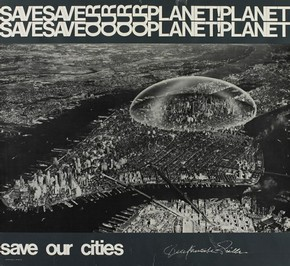 Save our Planet Saver Our Cities!, poster, R Buckminster Fuller, 1971. Museum no. E.137-1972