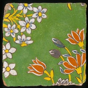Tiles from Lahore monuments, about 1600-50, glazed earthenware. Museum no. IM 271-1923