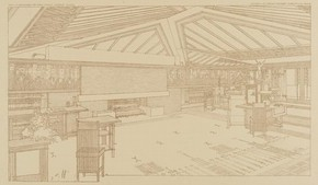 Perspective showing living room in the Avery Coonley House, Oak Park, Illinois, by Frank Lloyd Wright, 1907–8. From Ausgeführte Bauten und Entwürfe von Frank Lloyd Wright (Berlin, 1910). NAL no. 95 Drawer 12