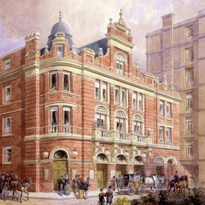 The Savoy Theatre, pencil and watercolour by Charles John Phipps, London, 1881. Museum no. HRB f.14-3