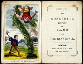 Frontispiece for 'Jack and the Beanstalk', published by JL Marks, London, 1850s. Museum no. MB.JACB.MA, © Victoria and Albert Museum, London