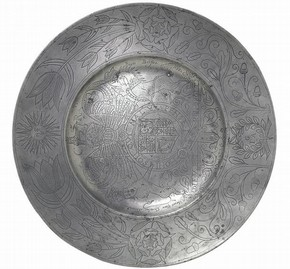 Charger, pewter, cast and engraved, England, 1662. Museum no. 347–1872