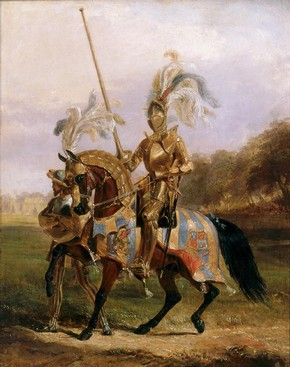 Lord Eglinton dressed as the Lord of the Tournament, oil painting on wood by Edward Henry Corbould, Britain, about 1840, Museum no. P.5-1981