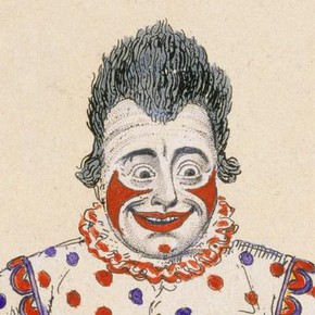 Joseph Grimaldi as Clown in the pantomime 'Harlequin and Friar Bacon' by Bonnor and O'Keefe, etching coloured by hand by George Cruishank, Theatre Royal, Covent Garden London, 1820, Harry R. Beard Collection