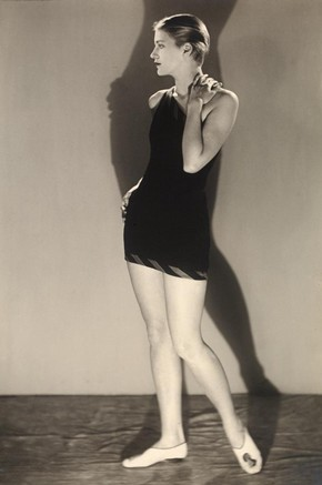 Lee Miller in bathing costume, photograph by Man Ray, 20th century. Museum no. PH.361-1982