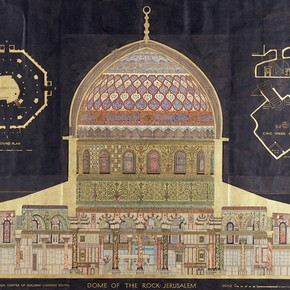 William Harvey, Measured drawing of the Dome of the Rock, Jerusalem, pen, ink, watercolour on paper, 1909. Museum no. E.1267-1963