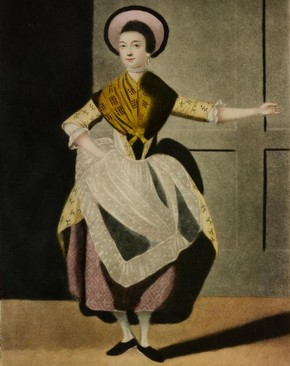 Nancy Dawson, hand-coloured aquatint print, London, England, early 19th century. Museum no. E.4968-1968