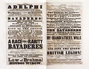 The Bayadères at the Adelphi, printed playbill, Adelphi Theatre London, England, October 1838