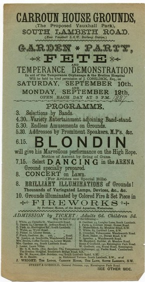 Blondin playbill, September 1887