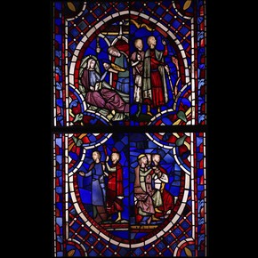 Stained glass panel from Sainte-Chapelle, Paris, France, 1243-8. Museum no. 1222:1-1864. © Victoria & Albert Museum, London